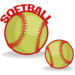 a graphic of two softballs and the word