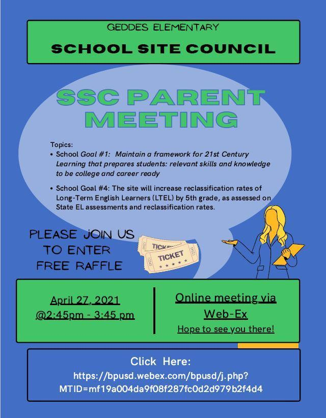SSC Parent Meet 4/27 ENG