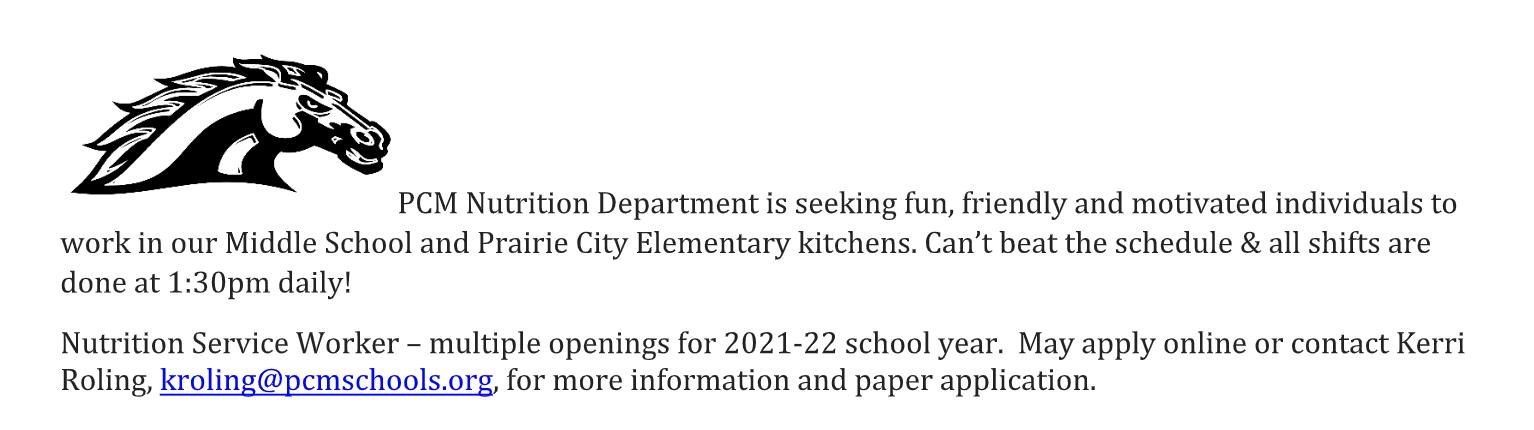 announcement for kitchen job hiring