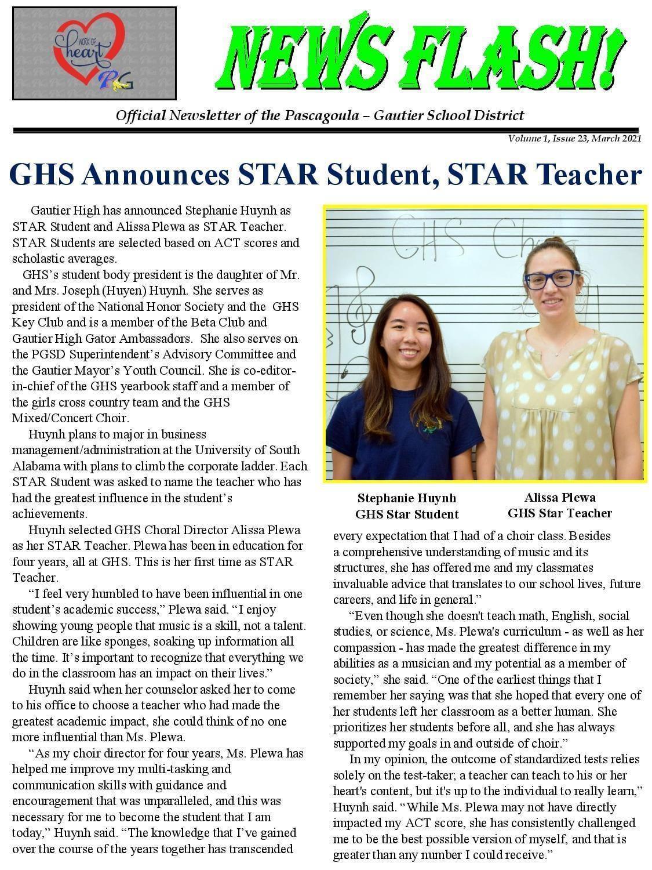 GHS Announces Star Student, Star Teacher