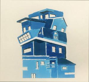 painting of blue townhouse