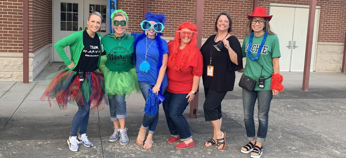 teachers dressed silly for back to school