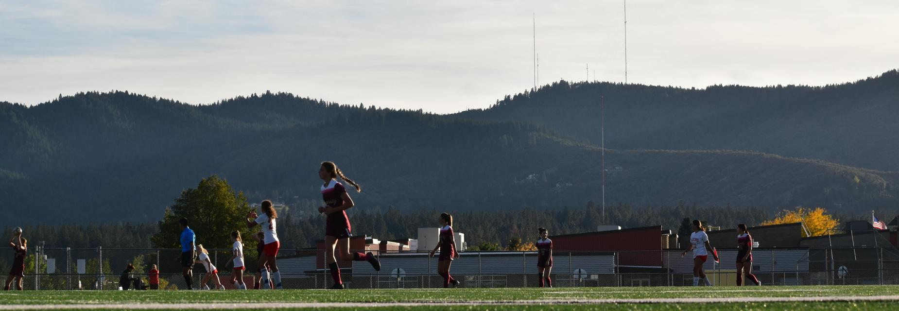 Soccer field with ridgeline in the background