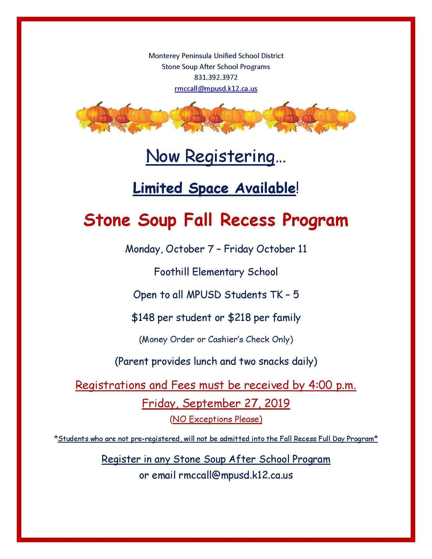 After School Academy Fall Recess Opportunities