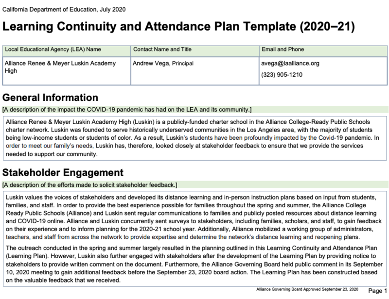Learning Continuity and Attendance Plan (2020-2021) Thumbnail Image