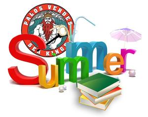 Summer text graphic in bright colors with Sea King logo and stack of books