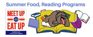 graphic that shows logos for the summer food and reading programs.