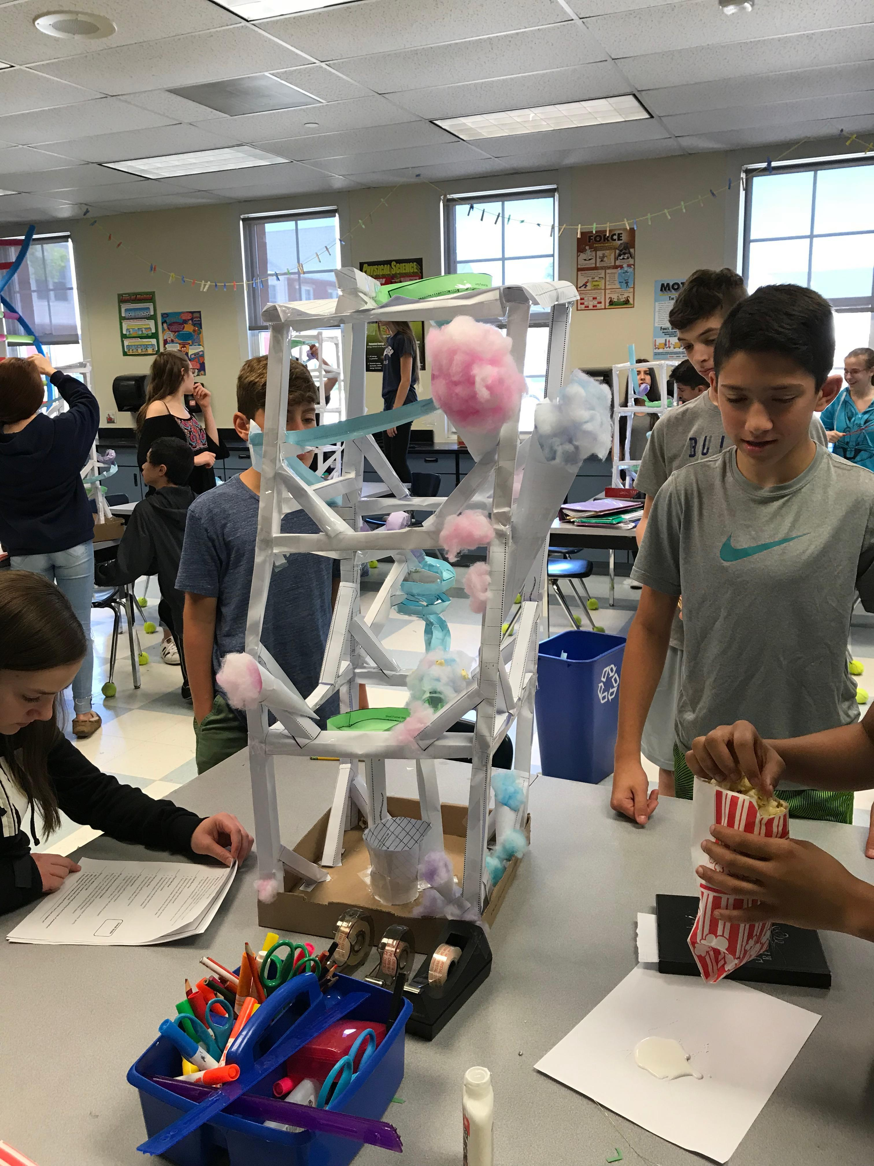 Students Building Paper Roller Coasters