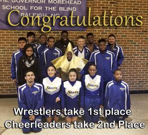 Wrestlers take first place and Cheerleaders took second place.