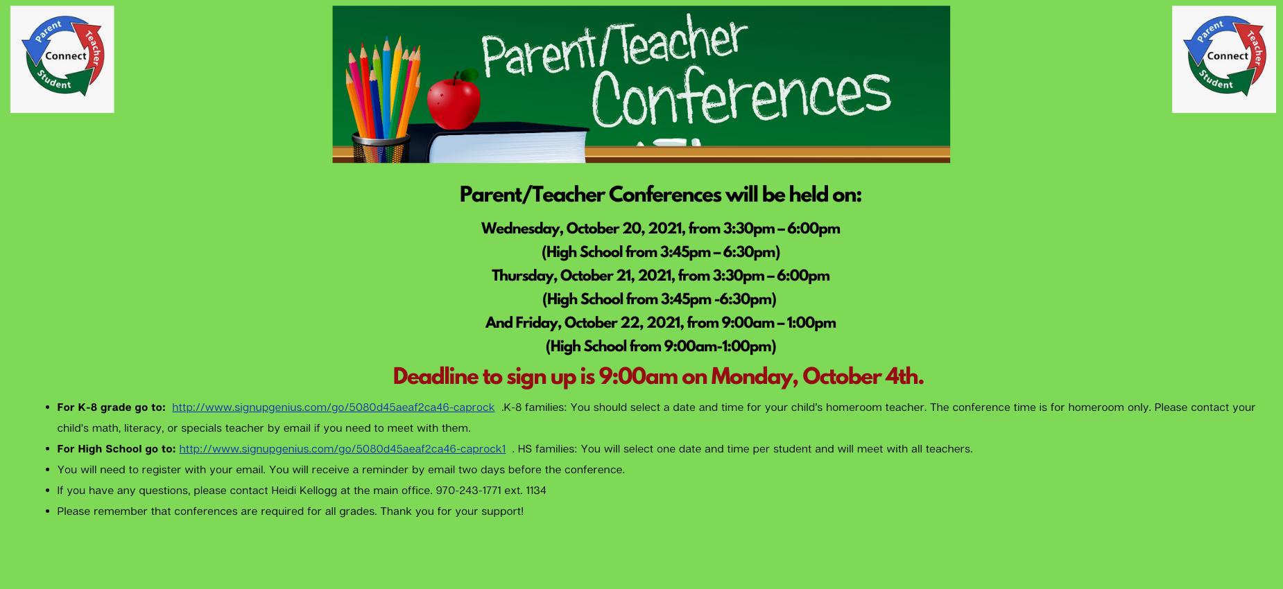 Parent Teacher conferences sign up now open