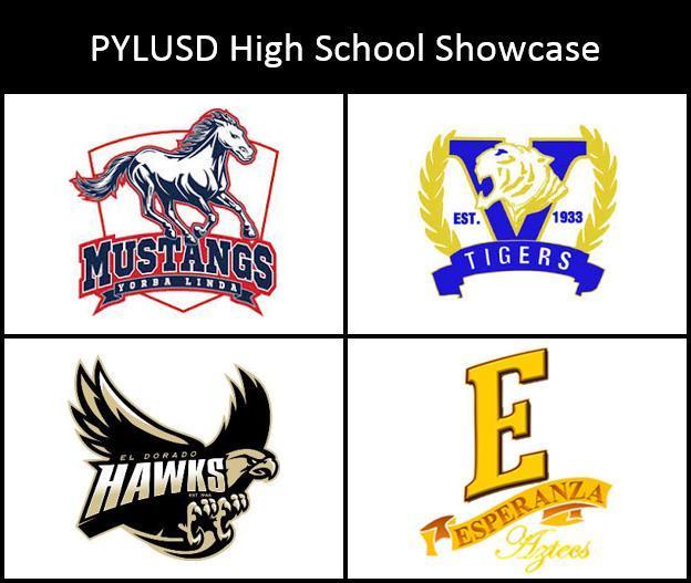 This logo for the PYLUSD high school showcase displays all four PYLUSD high school mascots: The Yorba Linda Mustangs, Valencia Tigers, El Dorado Golden Hawks, and the Esperanza Aztecs.