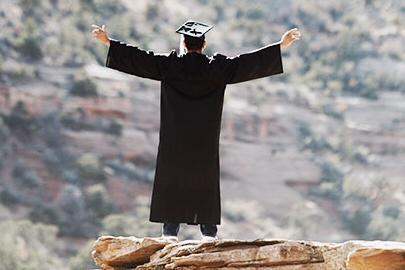 Graduate on a mountain