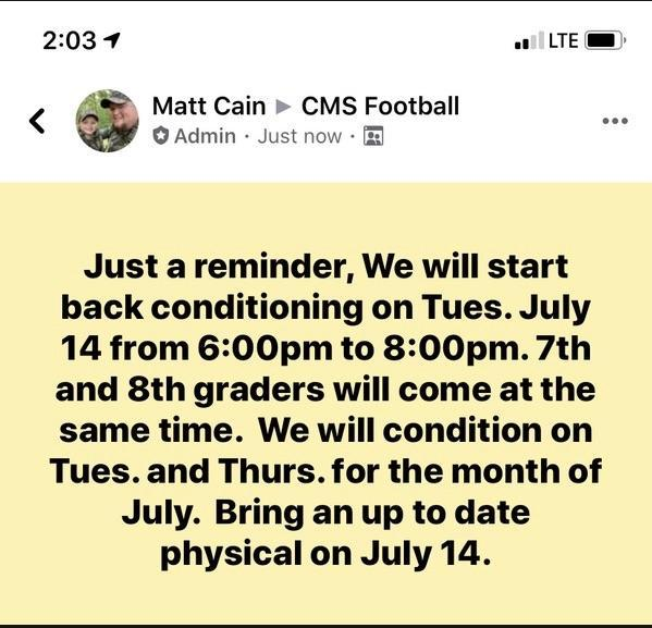Football Update posted July 7th, 2020