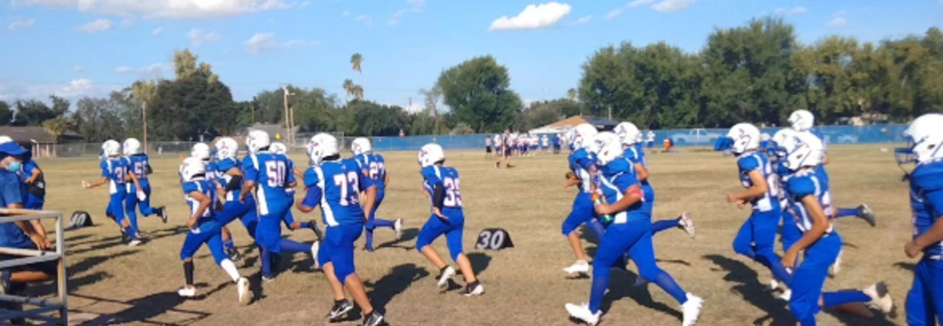 Mission Jr High 8th Grade Football team getting ready for a game.