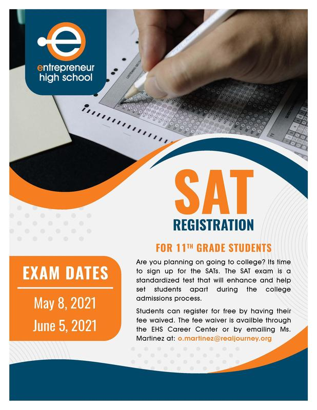 EHS Flyer with S.A.T registration information and exam dates on May 8th, 2021 and June 5th, 2021