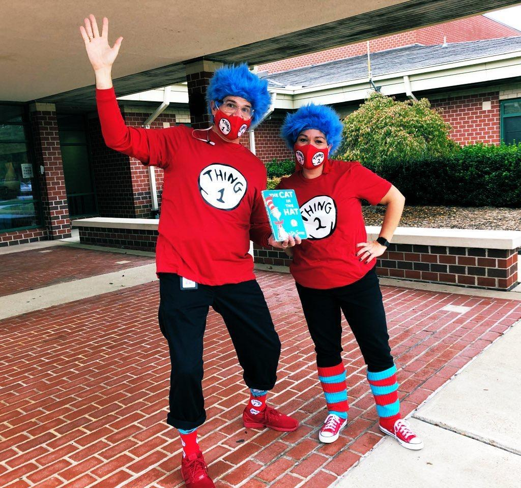 Mr. Brennan and Mrs. White as Thing 1 & Thing 2