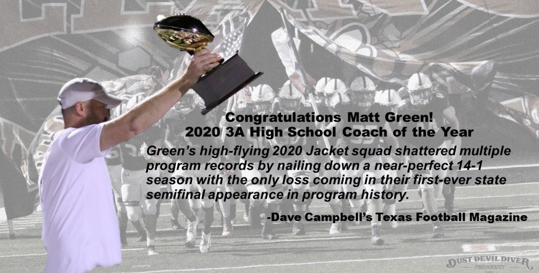 Congrats Coach Green