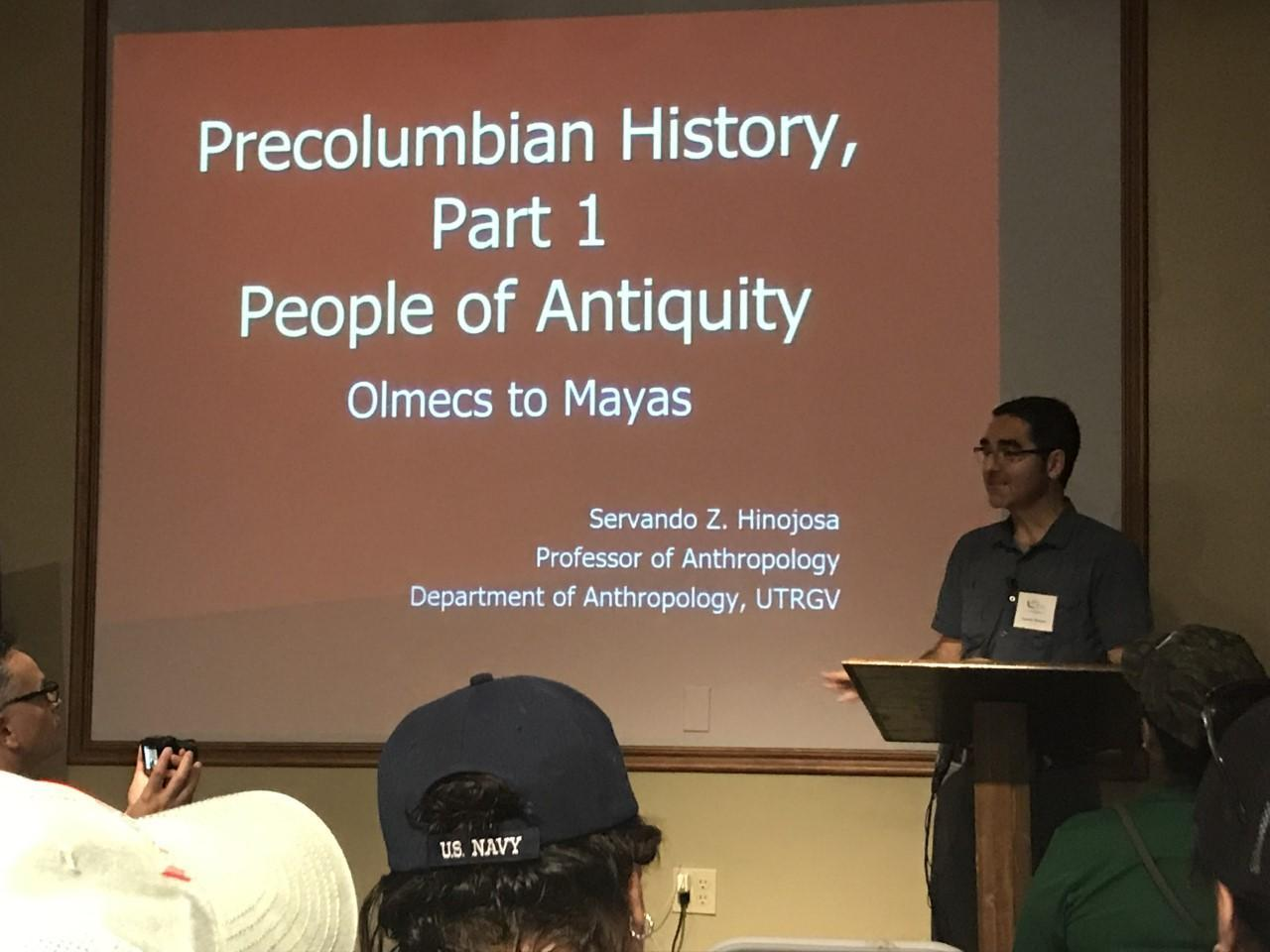 Presenter presents on Precolumbian History
