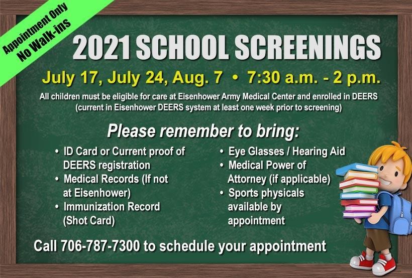 2021 School Screenings for Eisenhower Army Medical Center