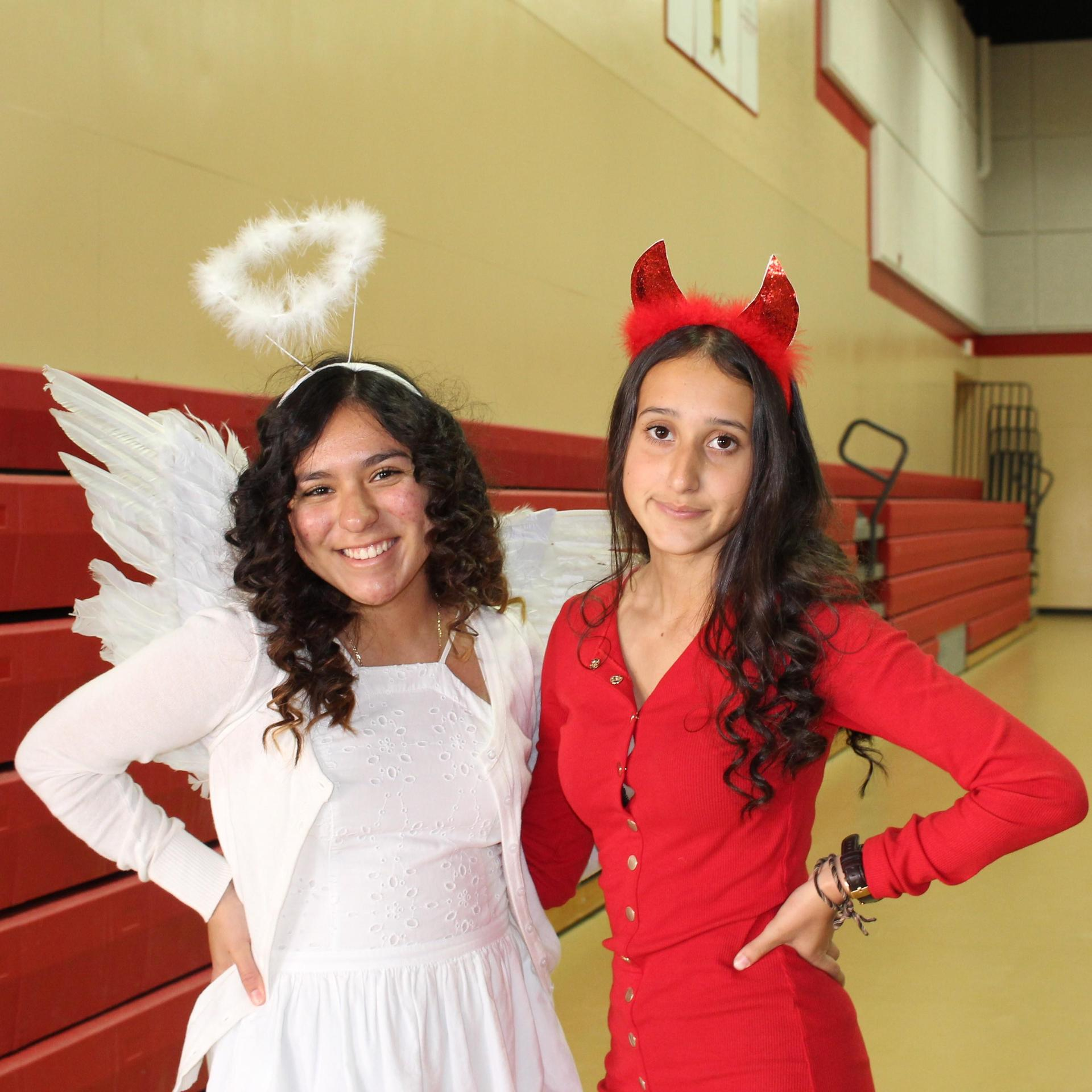 Esmeralda Espinoza and Angela Sandoval as angel and devil