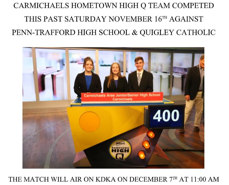 Updates on HS Academic Team: Hometown Hi-Q Airing Dec. 7th @11am Thumbnail Image