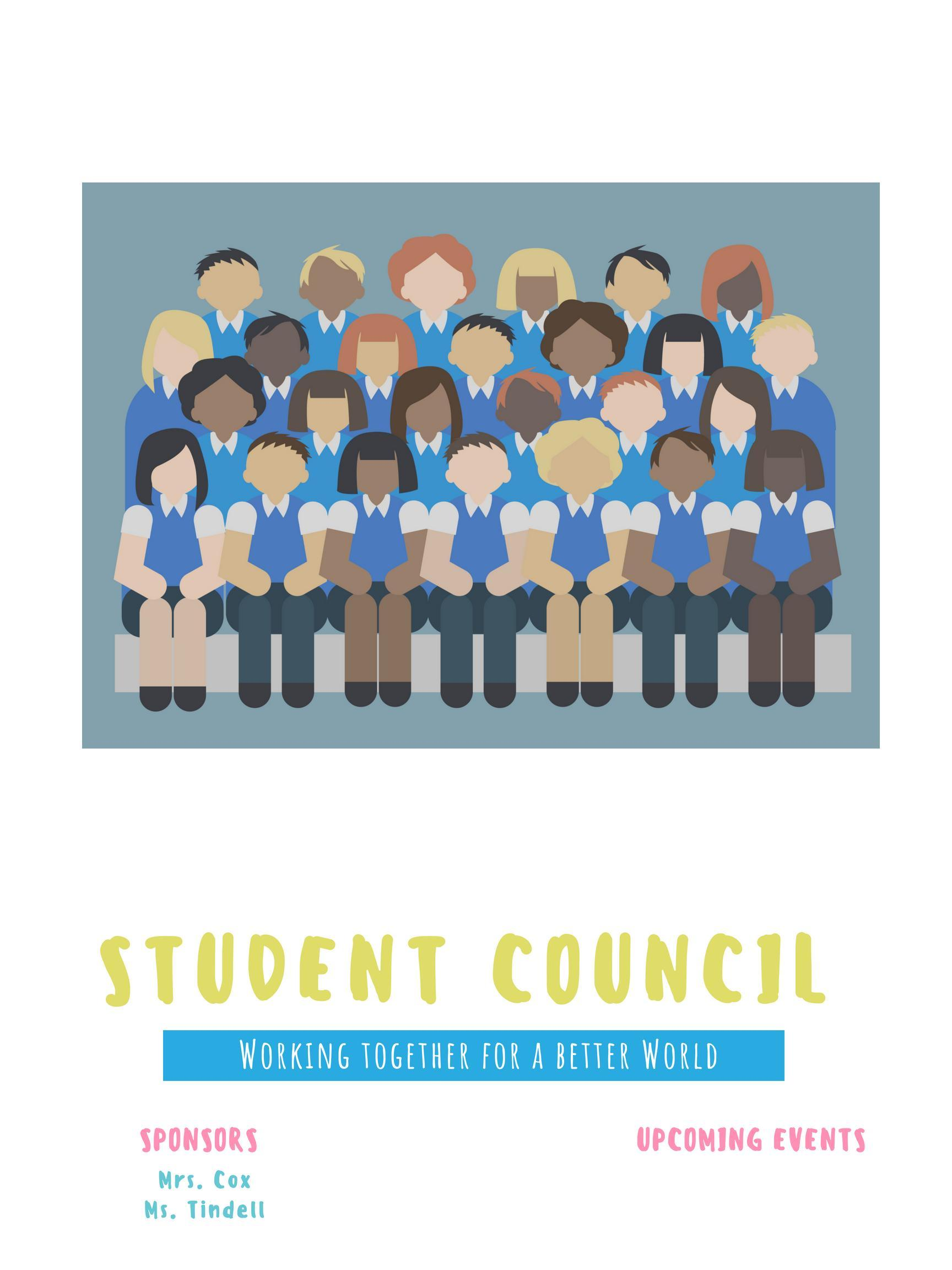 illustration of students sitting as a group for student council photo