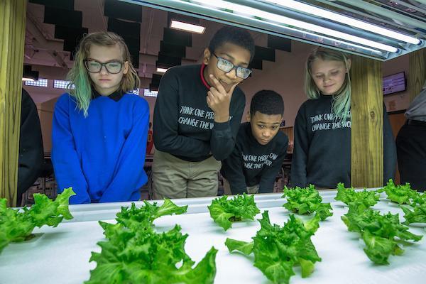 Students in front of a an indoor vegetable garden