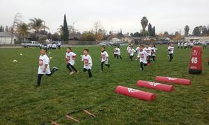 Students running.