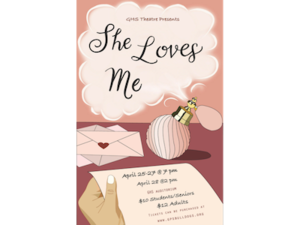 She Loves Me poster with perfume bottle graphic