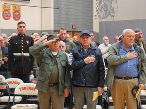 Area veterans take part in the TKHS Veterans Day program.