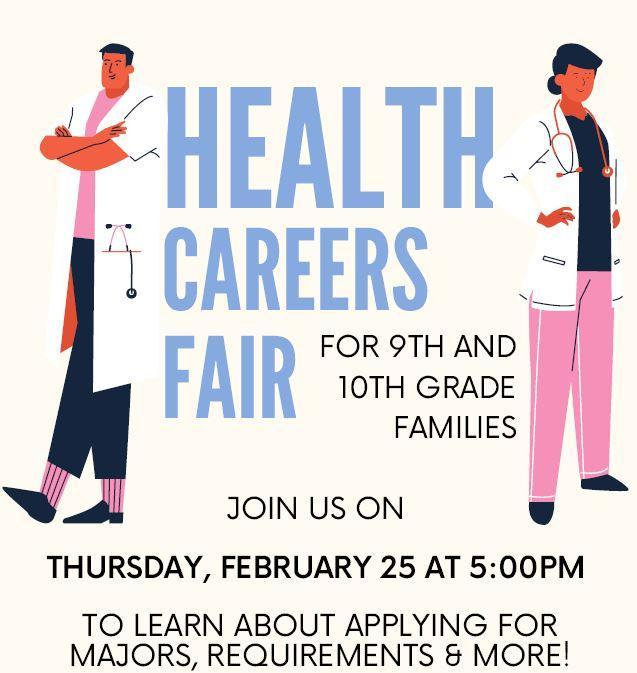 Health Careers Fair Flyer with two health careers people standing on both sides of the join us information