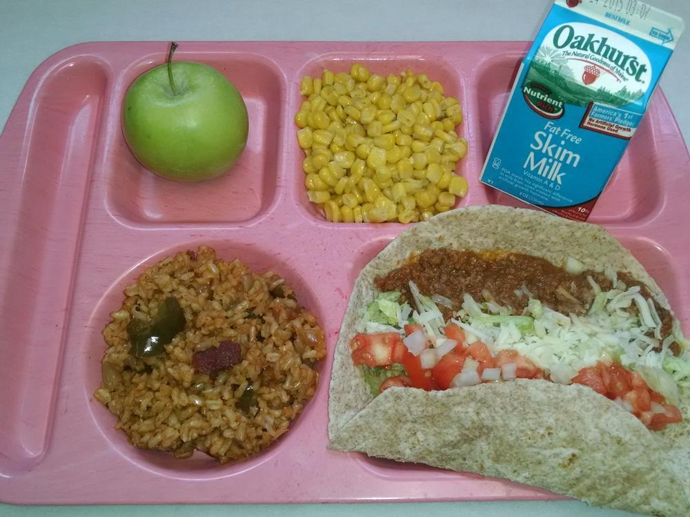 Beef Soft Tacos with Spanish Rice, Corn, Granny Smith Apple and Milk
