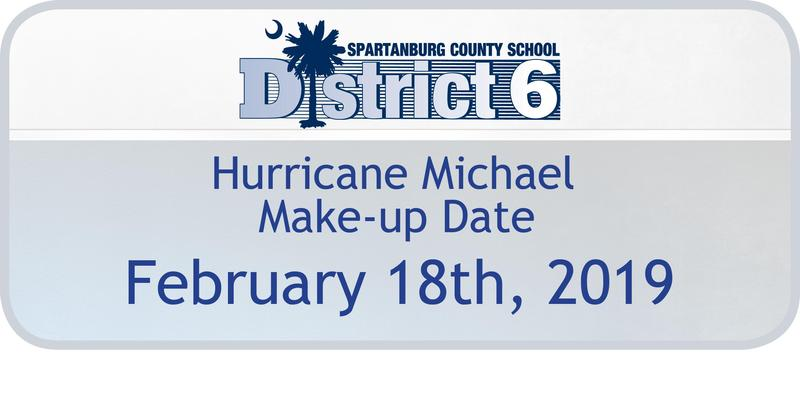 A graphic that says the Make-up Day for Hurricane Michael is Feb 18th.