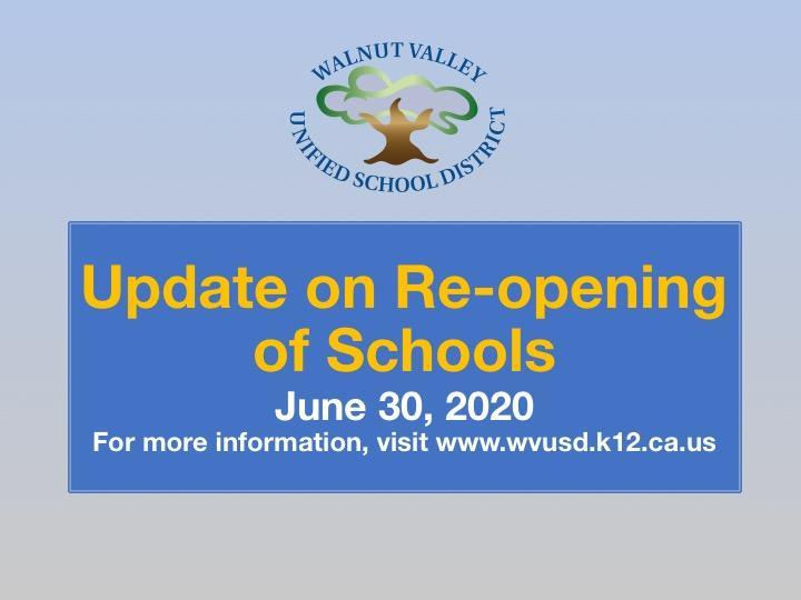 Message from the Superintendent: Update on Re-opening of Schools Featured Photo