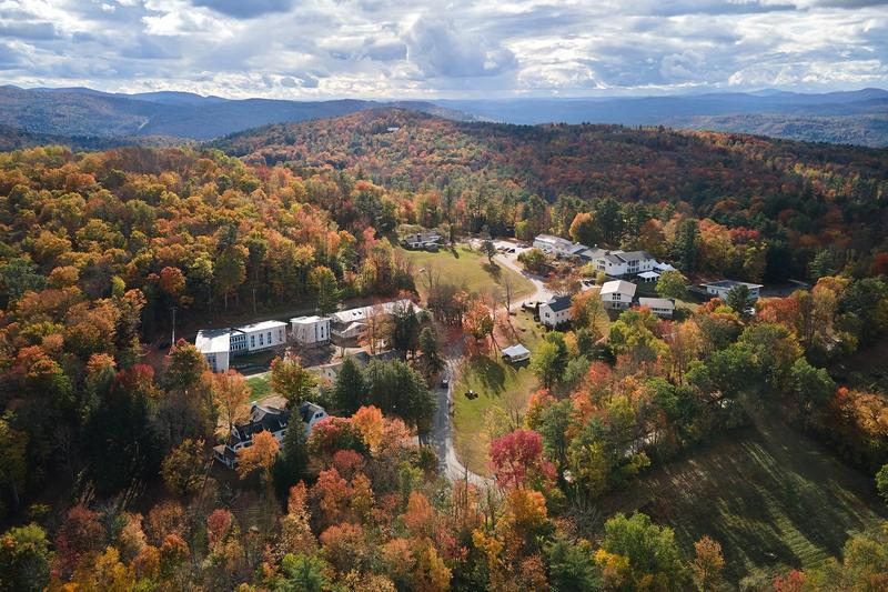 An aerial photo of the campus of The White Mountain School.