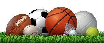 Picture of various sports equipment: a football, baseball, soccer ball, basketball, shuttlecock, tennis ball, volleyball and golf ball are pictured.