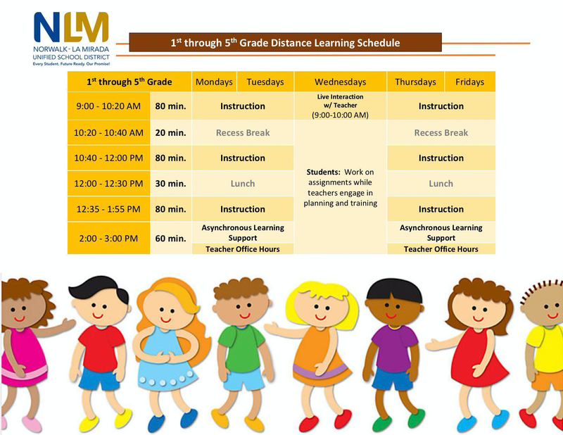 Grades 1st-5th Distance Learning Schedule Featured Photo