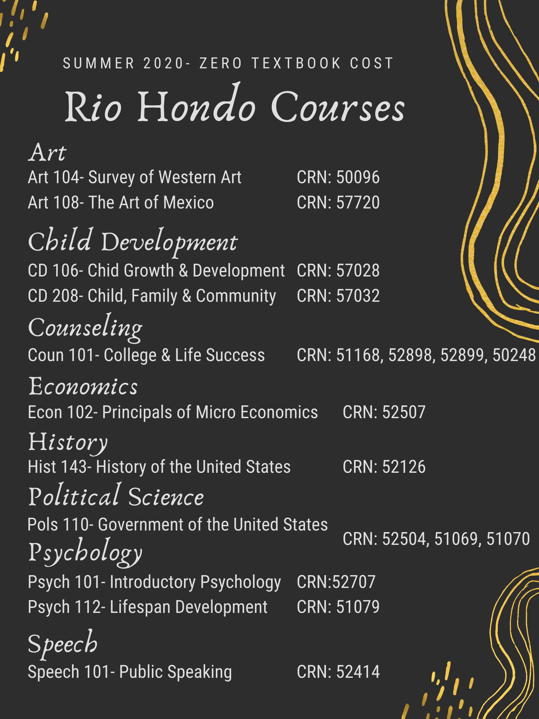 Rio Summer Course List