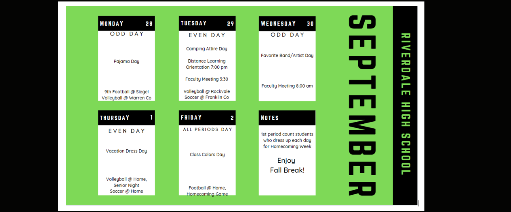 Weekly Schedule 9-28-20
