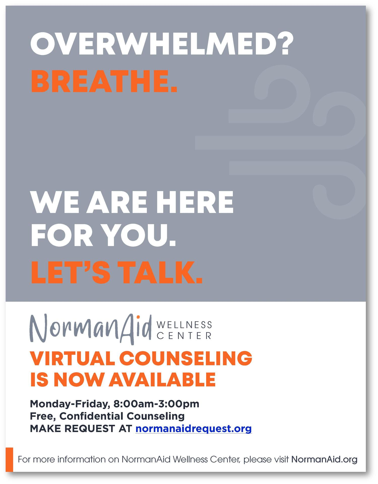 Virtual Counseling NOW AVAILABLE flyer