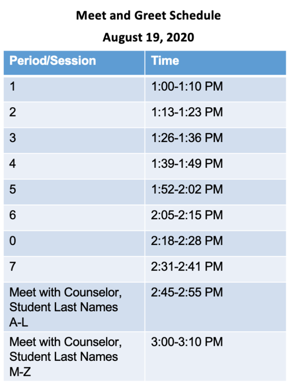 Meet and Greet Schedule