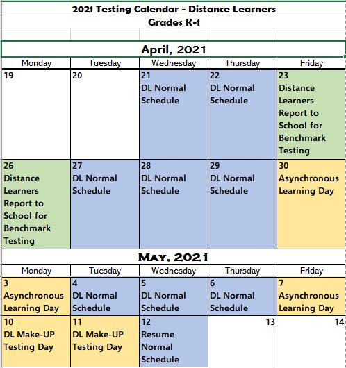 K-1 Distance Learners Testing Calendar