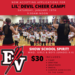 Red Background with EV and pitchfork logo and a picture of kids performing during last year's camp.