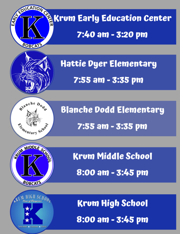 infographic detailing the start and dismissal times for each krum isd campus