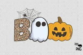 Boo spelled out with ghost, pumpkins
