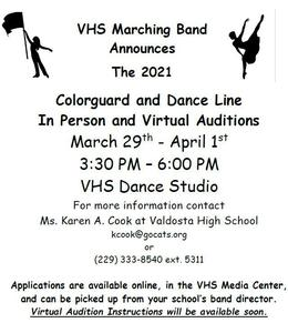 2021 VHS Marching Cats Auxiliary Flyer