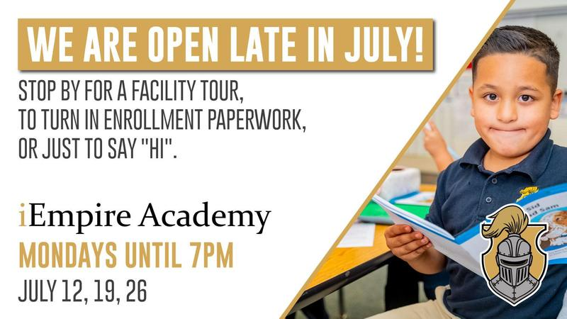 Flyer for extended campus and office hours during the month of July. Student smiling and holding book