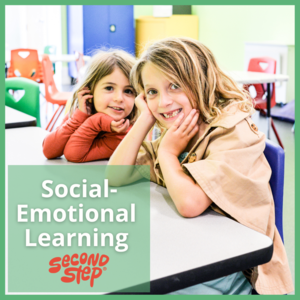 Social-Emotional Learning -Second Steps (Photo of two elementary girls sitting at table)