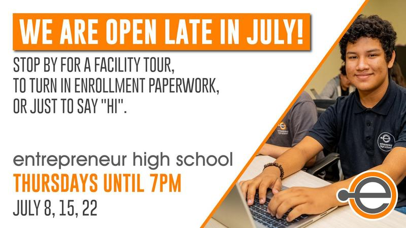 Flyer for extended office hours in july. With student smiling while on their laptop.