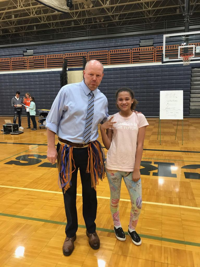 This student made a tutu for Mr.Alston to wear at the Assembly!!